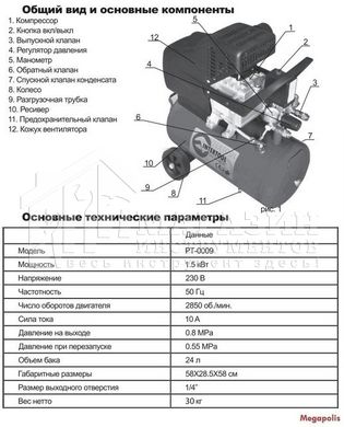 Компрессор INTERTOOL PT-0009 24л